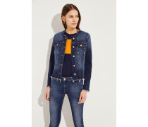 Jeansjacke im Used-Look Blau