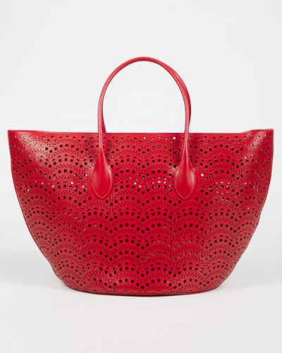 Handtasche 'Vienne Vague' aus gestanztem Leder Rot - Leder