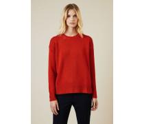 Woll-Pullover mit Knopfdetails Orange - Cashmere