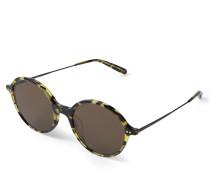 Runde Sonnenbrille 'Corby' in Hornoptik Braun/Beige