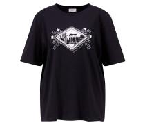 Baumwoll-Shirt mit Print Schwarz