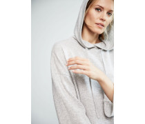 Oversized Cashmerepullover mit Kapuze Grau Mélange - Cashmere