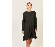 Strick-Kleid mit Volant-Saum Oliv