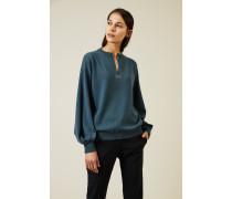 Cashmere Pullover mit Perlendetails Petrol