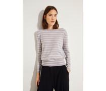 Cashmere-Pullover mit Schleifenverzierung Grau/Weiß -
