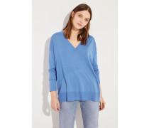 Woll-Pullover mit V-Neck Blau