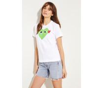 T-Shirt mit Herz-Emblem Weiß/Grün