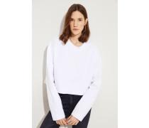 Gecropptes Baumwoll-Sweatshirt Weiß