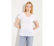 Leinen T-Shirt Weiß