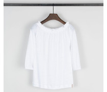 Off-Shoulder Leinenshirt Weiß