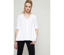 Baumwoll-Blusenkleid mit Raffungen Weiß