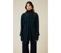 Oversize Bluse mit Bindeelement Grün - Seide