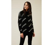 Oversize Wollpullover mit Schriftzug Schwarz/Weiß