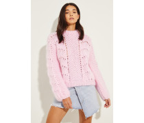 Mohair-Woll-Pullover 'Hand Knit' Rosé