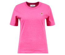 T-Shirt mit Logo-Patch Pink