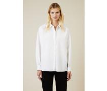 Oversize Baumwoll-Bluse Weiß - 100% Baumwolle