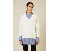 V-Neck Baumwoll-Pullover Écru - 100% Baumwolle