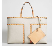 Handtasche ' Block-T Stud' Beige