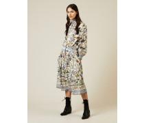 Midi-Seidenkleid mit floralem Print Multi - Seide