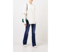 Woll-Pullover mit angeknöpften Ärmeln Soft White