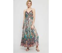 Midi-Kleid mit Bindedetail Grün/Multi - Seide