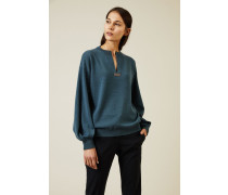 Cashmere Pullover mit Perlendetails Petrol - Cashmere