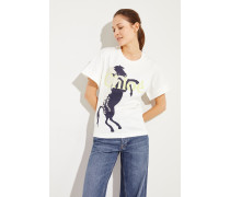 Baumwoll-Shirt mit Pferde-Aufdruck Iconic Milk