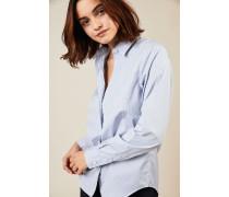 Gestreifte Baumwoll-Bluse Weiß/Blau - 100% Baumwolle