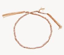 Armband 'Lucky Bracelet' 18 Kt. Roségold/Weißes Seidenband - Seide