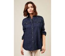 Jeanshemd mit Perlenapplikation Blau - 100% Baumwolle