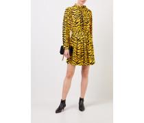 Kurzes Kleid mit Print Schwarz/Gelb