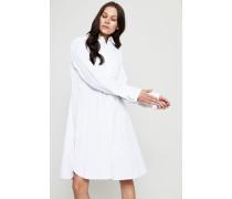 Gestreiftes Hemdblusenkleid mit Bindeelement Weiß - 100% Baumwolle