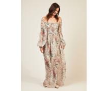 Langes Seiden-Kleid 'Bayou Shirred' mit floralem Print Multi - Seide