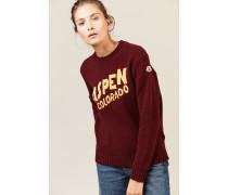 Woll-Cashmere-Pullover mit Schriftzug Bordeaux