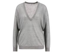 V-Neck Pullover mit Lurexdetails Salbei