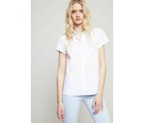 Ausgestellte Kurzarm-Bluse 'Aram' Weiß - 100% Baumwolle