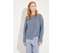 Woll-Cashmere-Pullover mit Lochmuster Blau