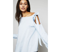 Bluse mit Schulter-Cut-Outs Hellblau