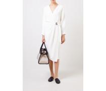 Wickelkleid mit Bindedetail Weiß