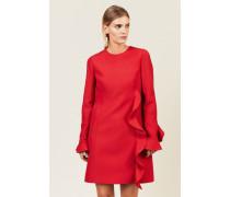 Woll-Seiden-Kleid mit Volants Rot - Seide