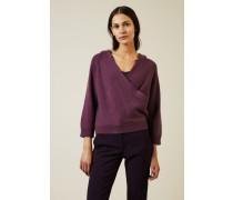 Cashmere Rippstrickpullover mit Kapuze Violett - Cashmere