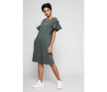 Klassisches Baumwollkleid mit Raffungen Mittelgrün