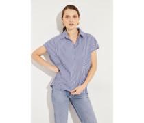 Gestreifte Oversize Bluse Blau/Weiß