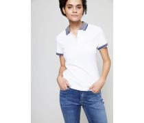 Poloshirt mit abgesetztem Kragen Weiß/Grau