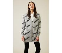 Woll-Cardigan Grau/Schwarz