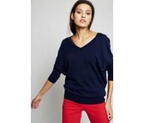 Leichter V-Neck Pullover Marineblau - Cashmere