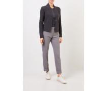 Woll-Seiden-Blazer mit Perlenverzierung Grau