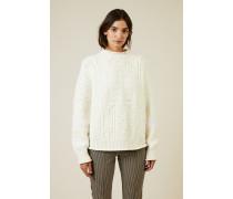 Woll-Cashmere-Pullover mit Logo Crémweiß