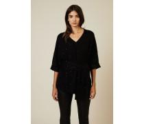 Cashmere-Seiden-Pullover mit Gürteldetail Schwarz - Cashmere