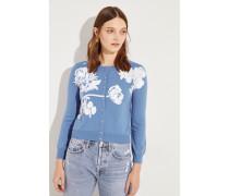 Woll-Cardigan mit Pailletten Blau/Weiß
